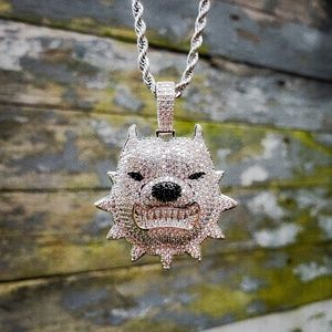 Iced Out Simulated Diamond Pitbull Necklace